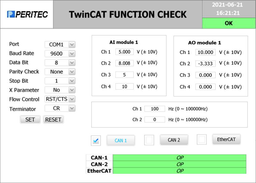 TwinCATユーザーインターフェース