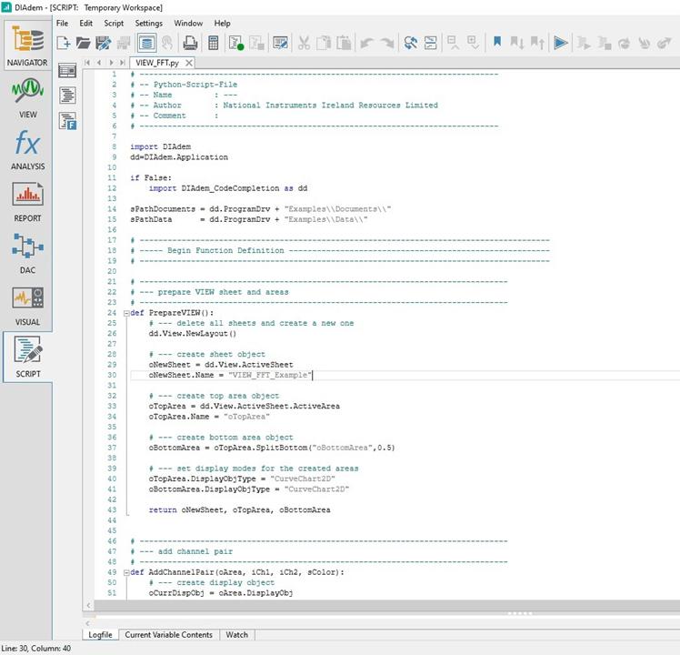 Pythonスクリプトを使用したDIAdem